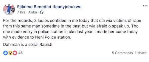 Ejikeme Benedict Ifeanyịchukwu post on Facebook