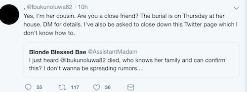 Cousin confirms Ibukunoluwa's death