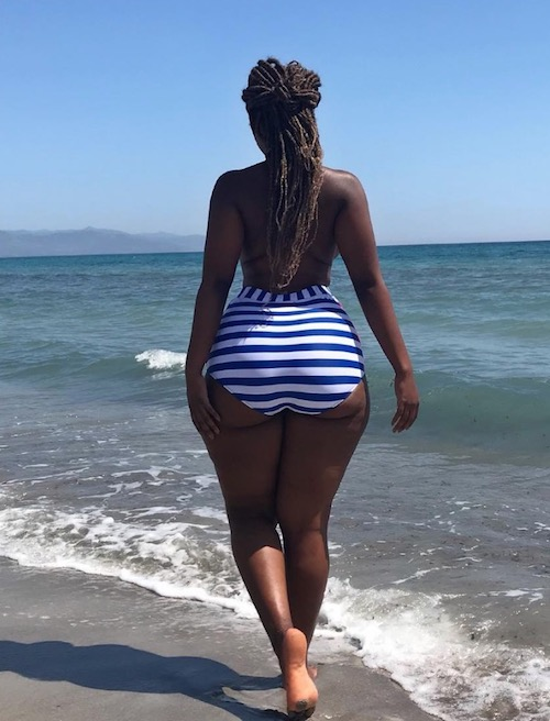 Corazon Kwamboka shows her backside