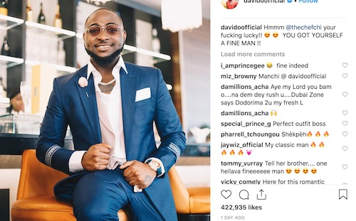 Davido says Chioma is lucky to have him