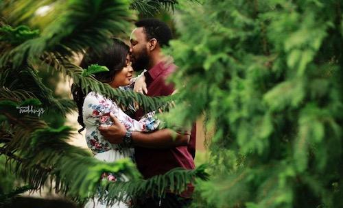 Linda Ejiofor and Ibrahim Suleiman kiss