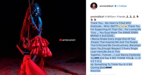 Annie Idibia reaches 4 million IG followers