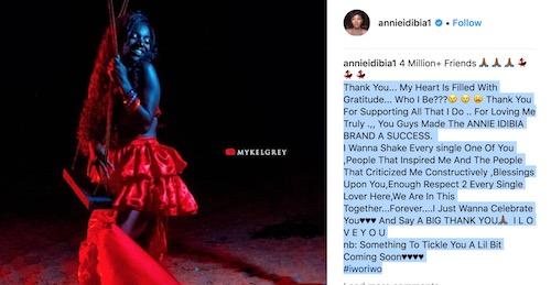 Annie Idibia reaches 4 million IG followers