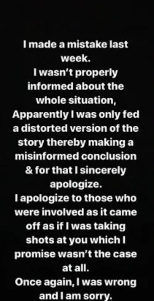 TBoss apologises to Davido on Instagram