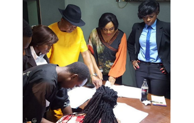 Kate Henshaw rocks androgynous look on set with Liz Benson
