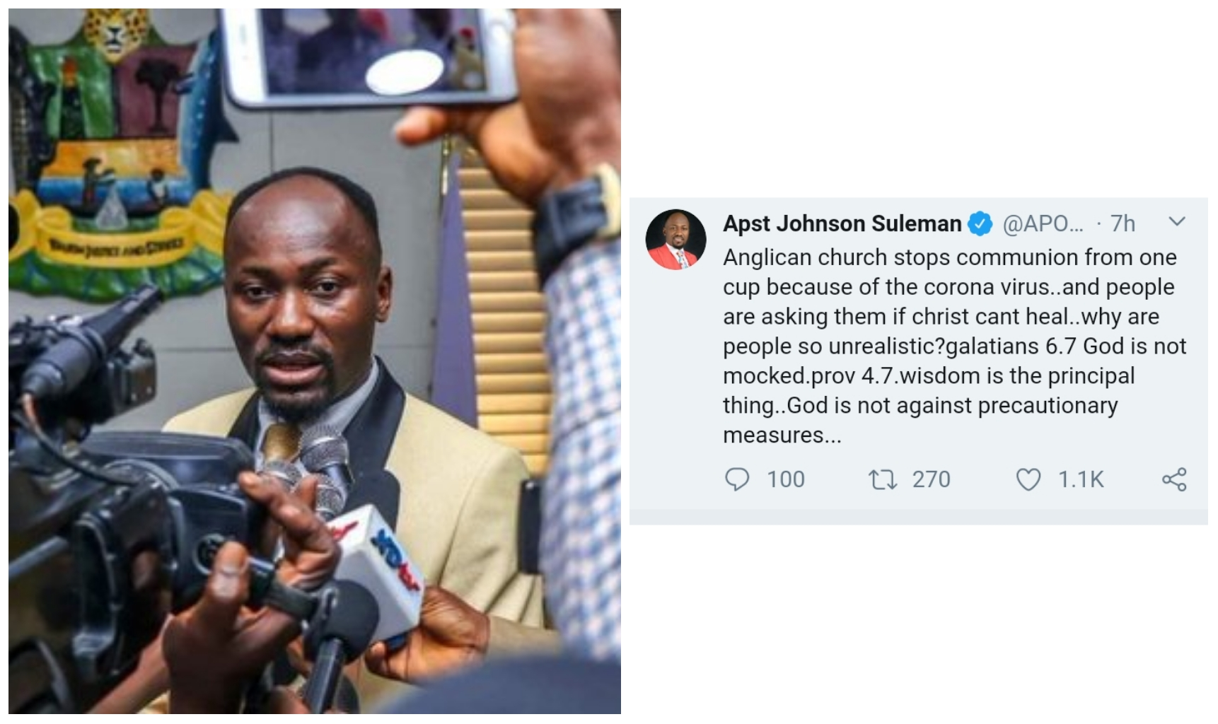 Apostle Suleman responds to people asking if Jesus Christ can't heal coronavirus
