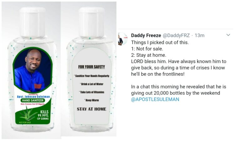 Apostle Suleman is giving out 20,000 hand sanitizers – Daddy Freeze announces