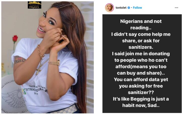You can afford data but you want free Hand sanitizer – Tonto Dikeh fires
