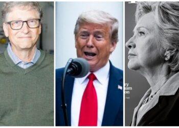 Donald Trump Bill Gate, Hillary Clinton