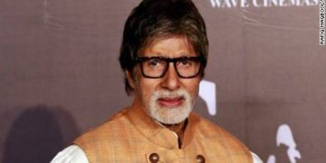 Bollywood star Amitabh Bachchan posses for a picture during launch of his upcoming film Sarkar 3 in Mumbai, India, Wednesday, March 1, 2017 . (AP Photo/Rafiq Maqbool)
