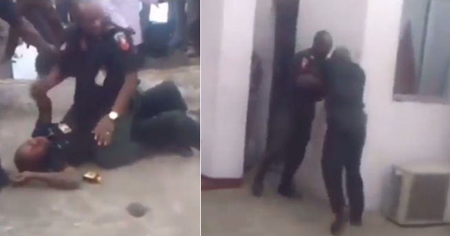 Watch the Viral video of two police officers fighting