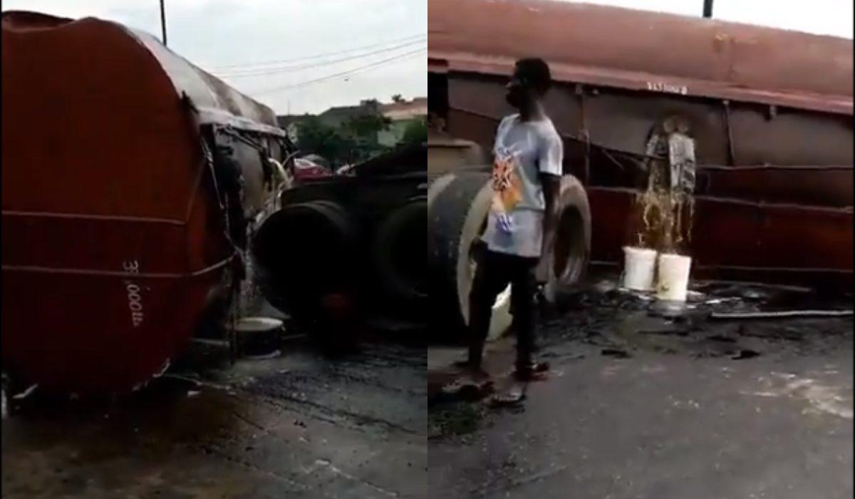 Loaded Tanker falls on Otedola Bridge on Lagos/Ibadan Expressway (Video)