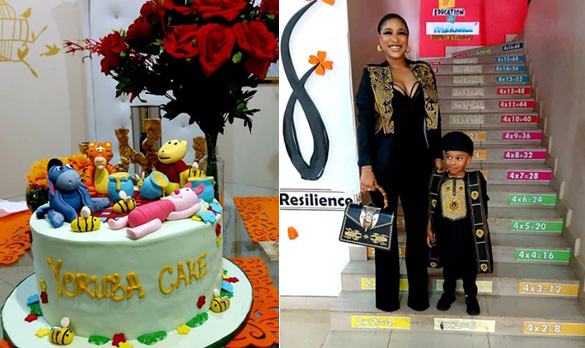 See the funny thing Tonto Dikeh did for her son's cultural day
