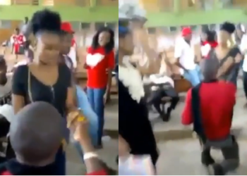 Female student slaps boyfriend for proposing to her in a lecture hall