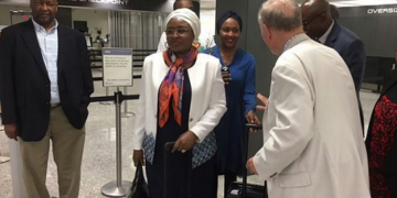 Aisha Buhari returns to Abuja after leaving the country two months ago (Photo)