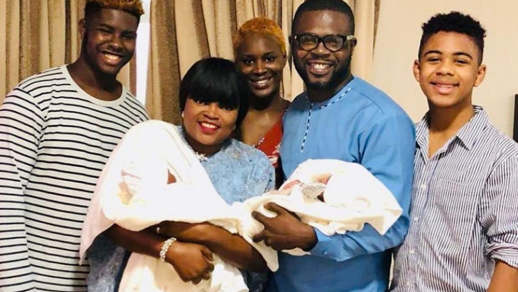 Funke Akindele shares adorable photo of her twin boys watching TV (Photo)