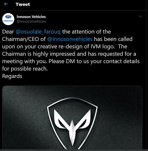 Graphic designer who redesigned IVM Logo to meet Innoson Chairman