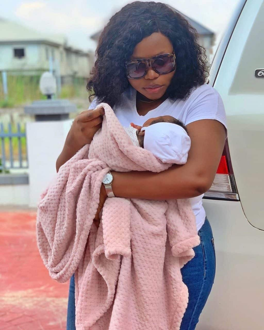 Actress Ruth Kadiri steps out with her baby girl, Reign (Photos)