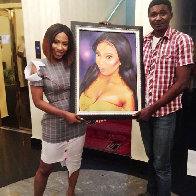 BBNaija: Mercy receives beautiful portrait painting of her from a fan (Photo)
