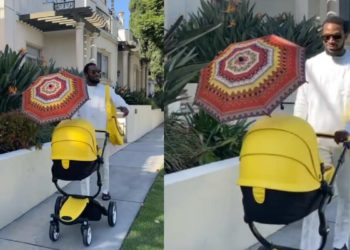 DBanj steps out with his newborn, looking very happy (Video)