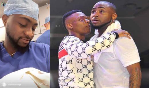Wizkid congratulates Davido on his new son's arrival, Davido reacts (Photos)
