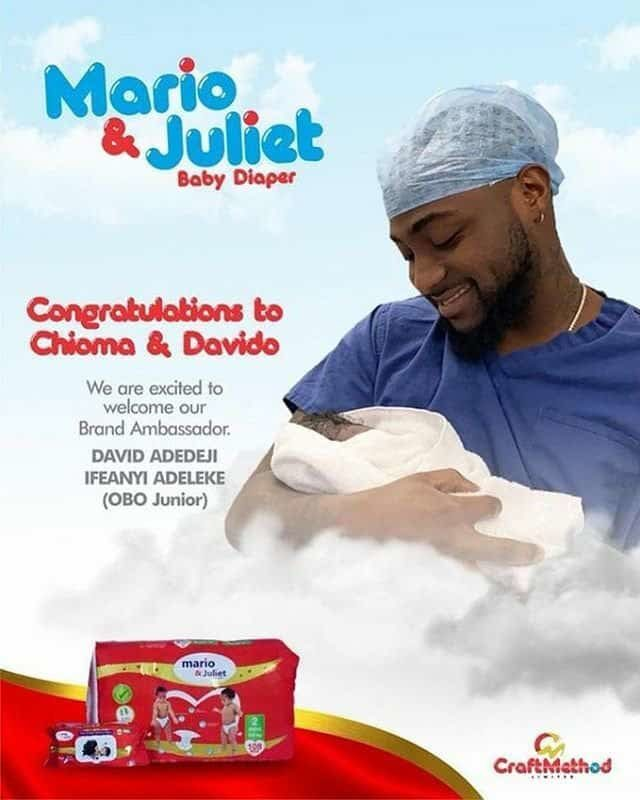 Davido's newborn son models for Mario & Juliet as brand Ambassador, hours after birth