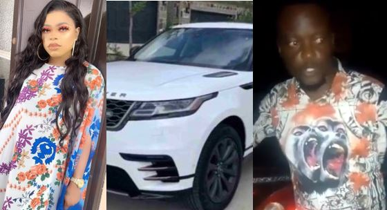 Bobrisky fights dirty in Lagos traffic after man bashed his Range Rover (Video)