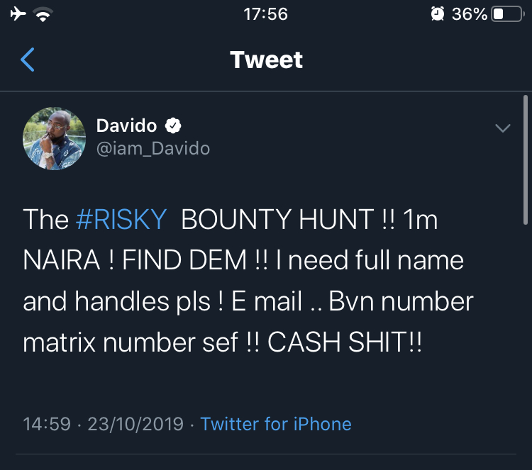 DAVIDO looks for 2 sisters