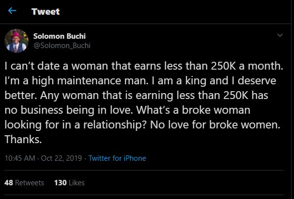 'I can't date a woman who earns below ₦250,000 monthly' – Nigerian man, says