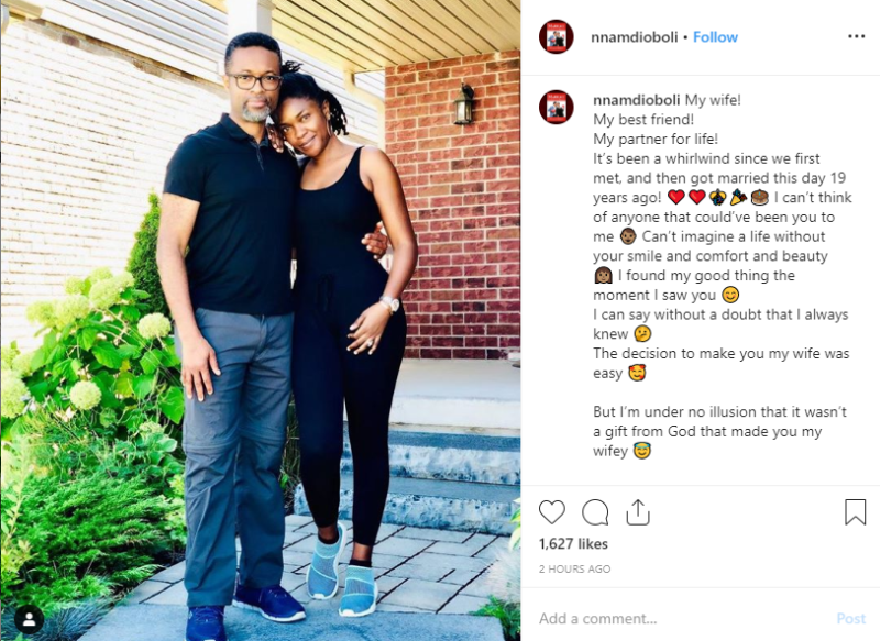 'I can't imagine a life without you my bestfriend' – Omoni Oboli's hubby celebrates their 19th wedding anniversary