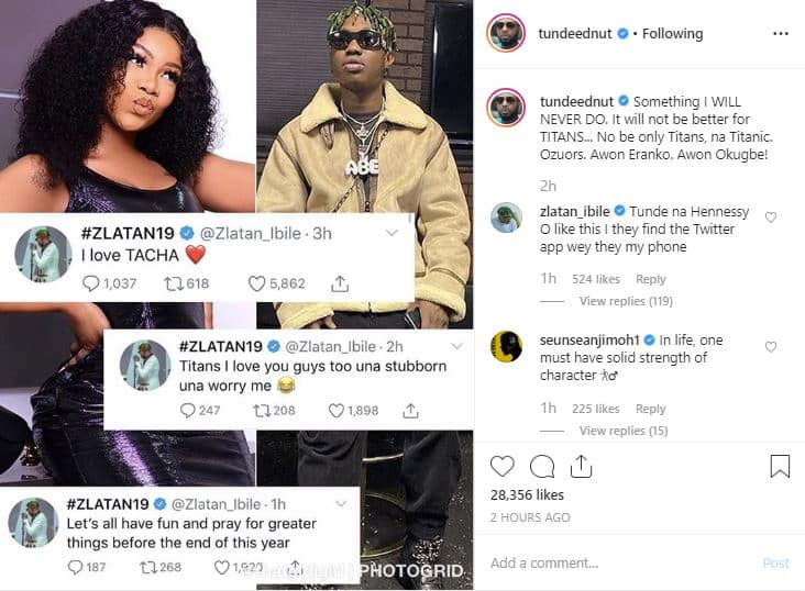 'It will never be better for Titans' – Tunde Ednut curses Tacha's fans