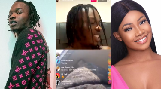Naira Marley and Tacha spark dating rumours as they flirt with each other on Instagram Live (Video)
