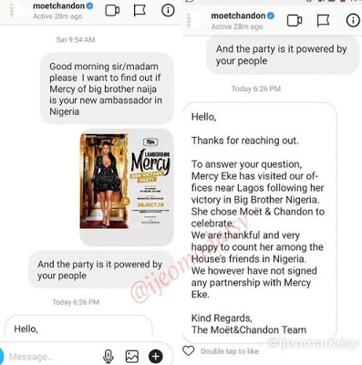 'We did not sign any partnership deal with Mercy Eke; - Moet Chandon denies Bbnaija star, Mercy Eke as ambassador (screenshot)