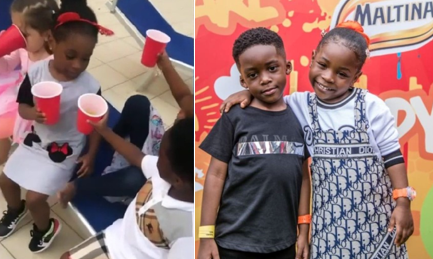 Davido's daughter, Imade and Tiwa Savage's son, Jam Jam share a drink together (VIDEO)