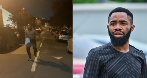 Instagram Comedian Wole Arole goes shirtless in the streets of London after Man United win (Video)