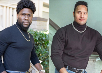 "Kevin Hart dresses up as Dwayne ""The Rock"" Johnson for Halloween"
