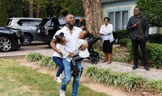 'My hands are full, where will I put Ifeanyi' - Davido excited as he meets his daughters in Atalanta (Photos)