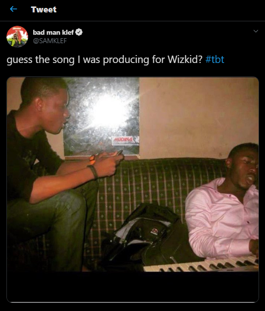 Wizkid reacts to epic throwback shared by music producer, Samklef