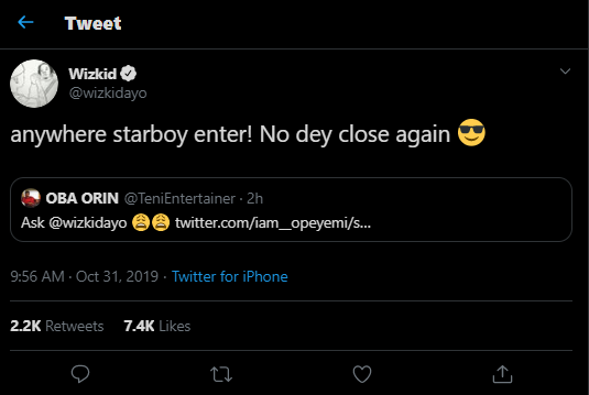 See the Hilarious reply Wizkid gave when a fan asked if Teni is a virgin (Photo)