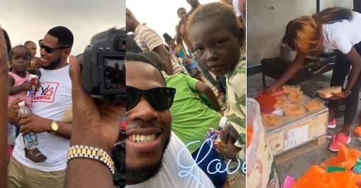 BBNaija's Frodd feeds 500 children (Photos)