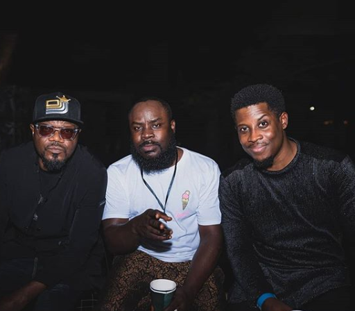 Bbnaija's Seyi Awolowo poses with Wizkid and Tiwa Savage at an event
