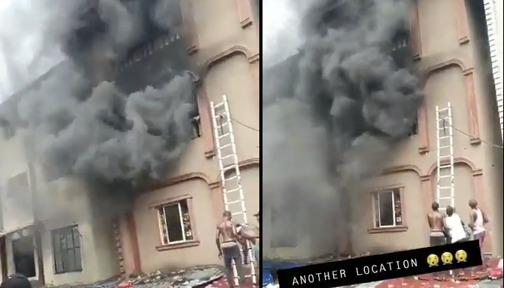 Another building under fire at Balogun market in Lagos Island