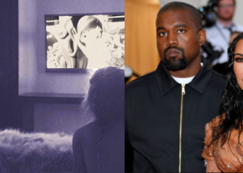 Kim Kardashian reacts as Kanye West removes Television from his children's room (Video)