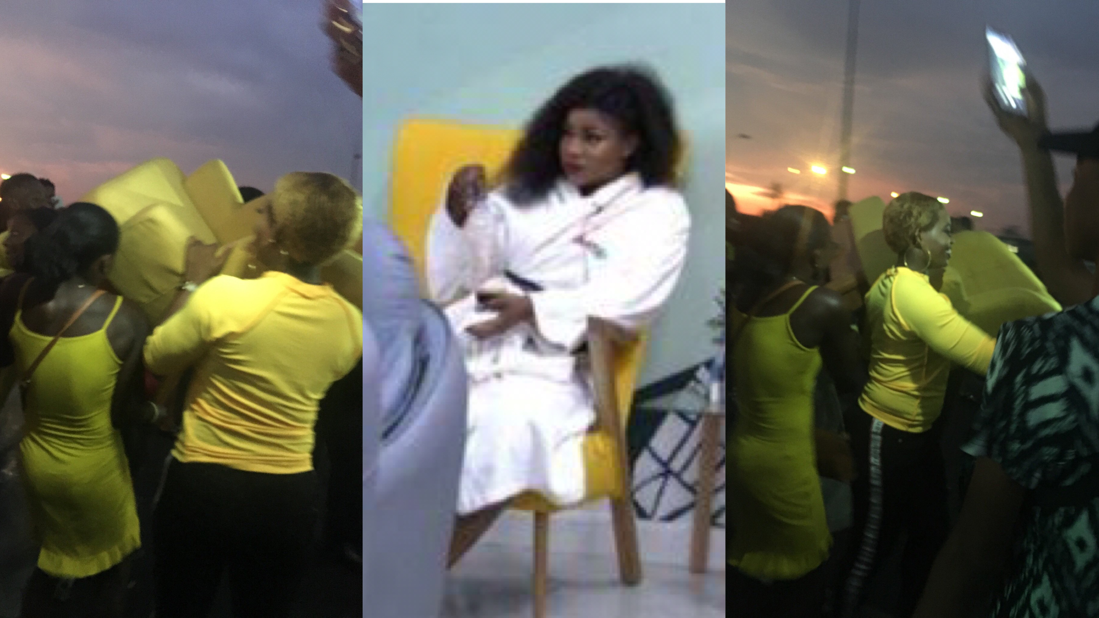 Tacha's fans storm airport to welcome her with her 'Yellow Chair' (Photos)