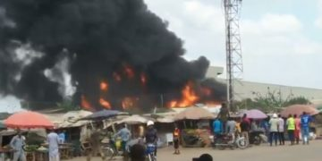 Fire guts Dangote factory in Ogun (VIDEO)