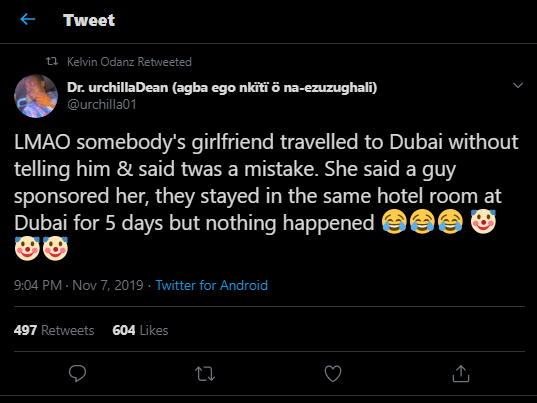 My girlfriend traveled to Dubai with another guy and called it a mistake - Nigerian man