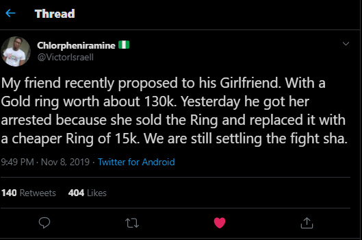 My fiancée sold the N150,000 engagement I gave her to replace with the one of N15k - Nigerian man