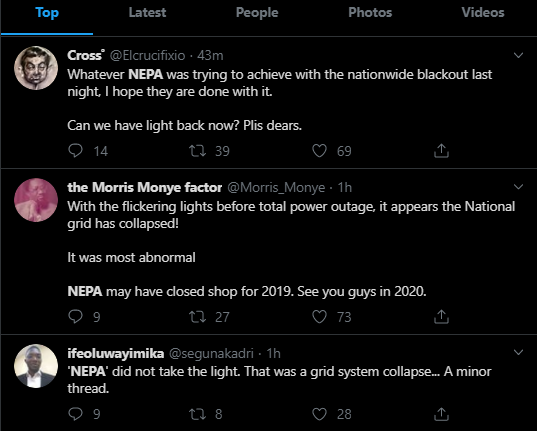 Nigerians react as the country suffers alleged Nationwide blackout (Photos)