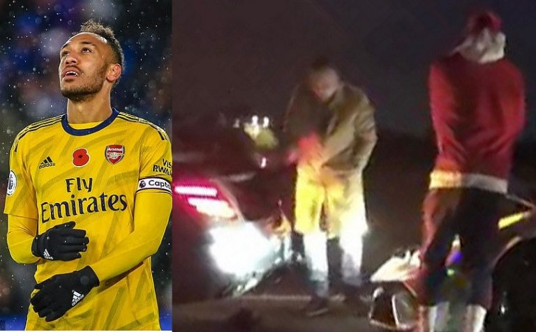 Arsenal star Pierre-Emerick Aubameyang involved in motorway crash while driving his £270k Lamborghini (Photos)
