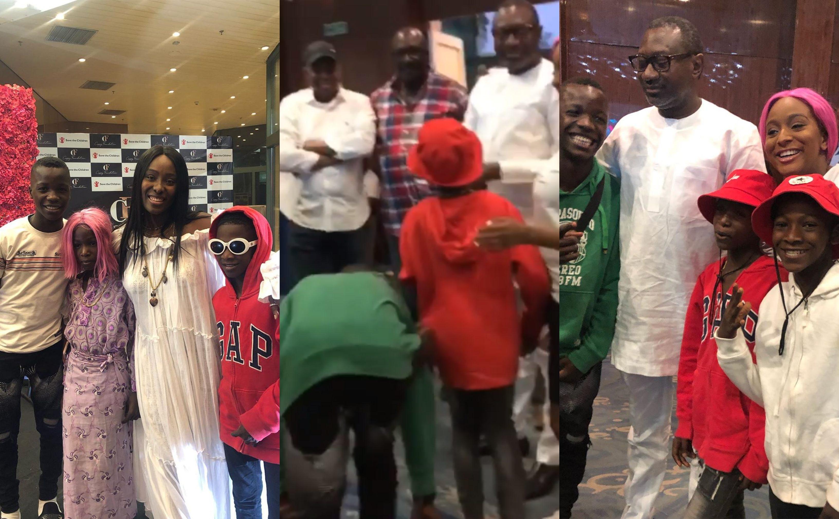 Ikorodu Bois prostrate for Billionaire Femi Otedola at DJ Cuppy's 27th birthday (Photos & Video)